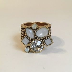 Cocktail Cluster Ring Milky White Clear Crystal